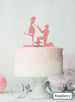 Silhouette Couple Proposal Engagement Cake Topper Premium 3mm Acrylic Raspberry