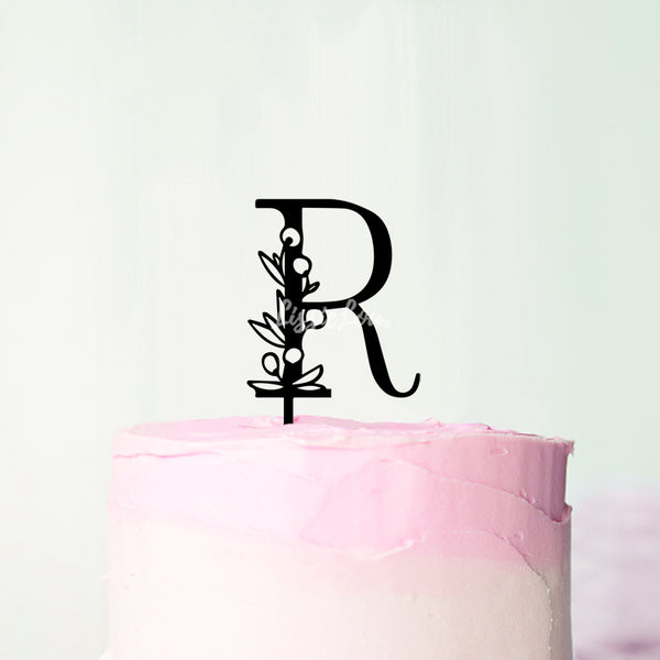 Wedding Floral Initial Letter R Style Cake Topper