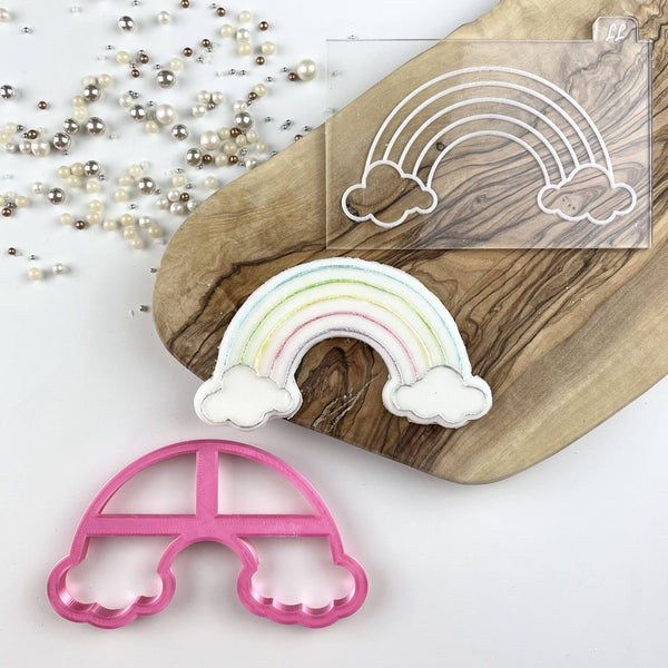 Rainbow with Clouds St Patrick's Day Cutter and Cookie Embosser