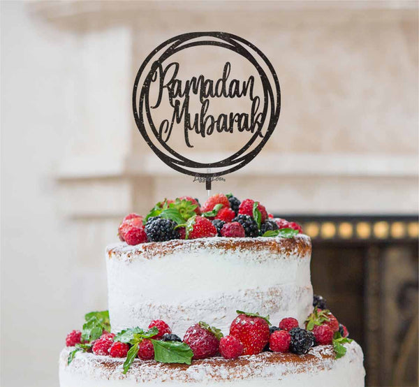 Ramadan Mubarak Circle Cake Topper Black