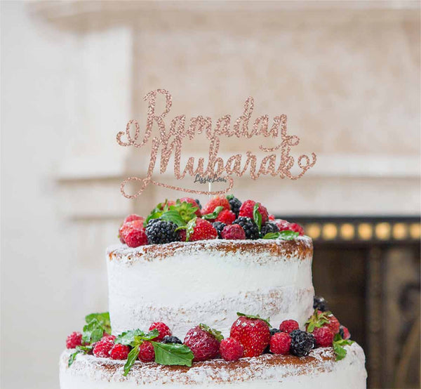 Ramadan Mubarak Cake Topper Pretty Font Rose Gold
