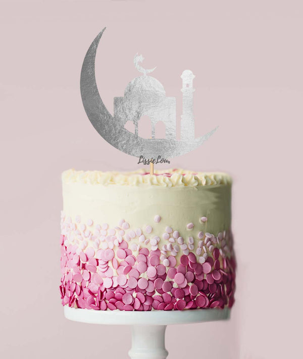 Eid Mubarak Mosque on the Moon Cake Topper Mirror Silver