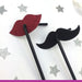 Lip and Moustache Glitter Party Straws Dark Pink and Black