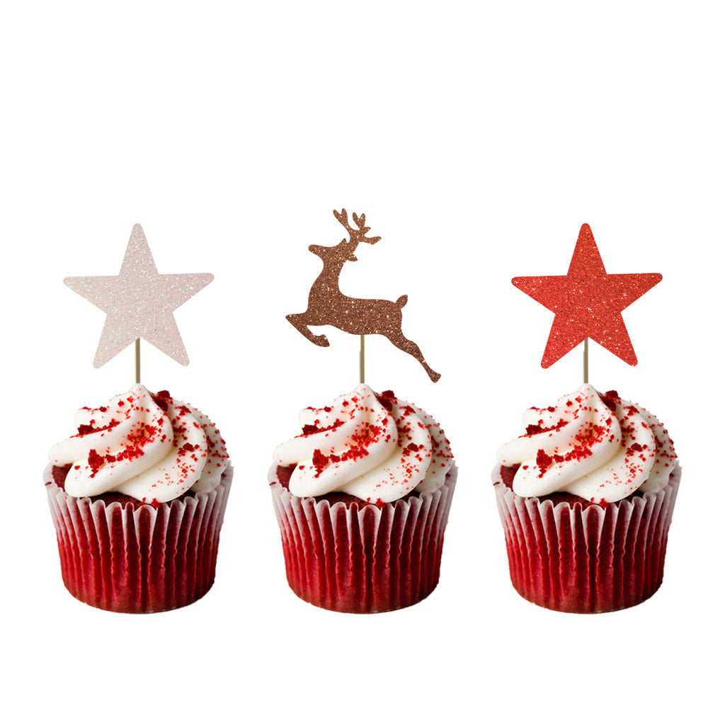 Reindeer and Star Cupcake Toppers