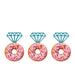 Ring Glitter Cupcake or Donut Toppers Light Blue