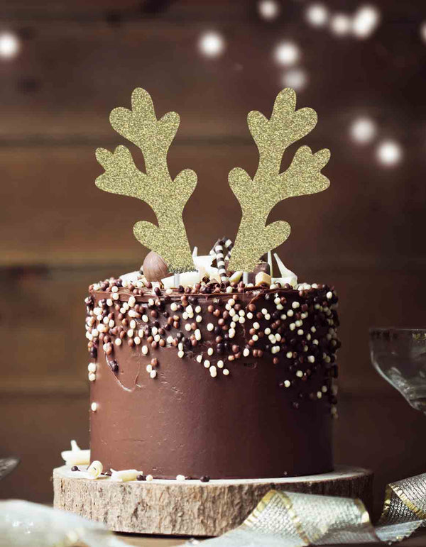 Reindeer Antlers Christmas Cake Topper Glitter Card Gold