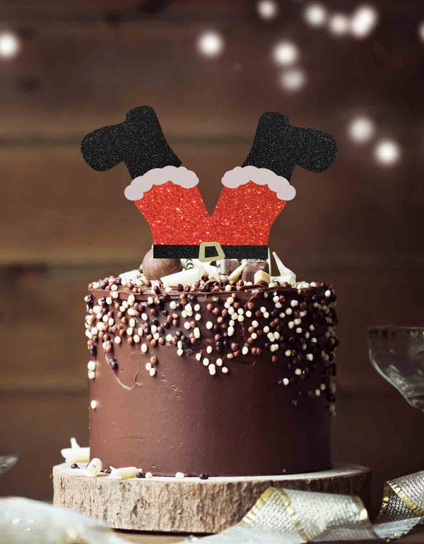 Santas Legs Fun Christmas Cake Topper Glitter Card Red and Black