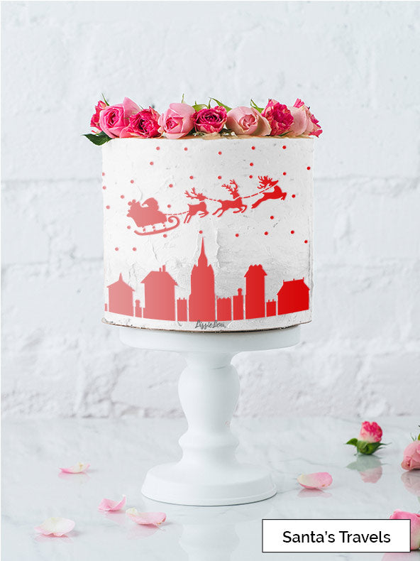 Santas Travels Cake Stencil - Full Size Design