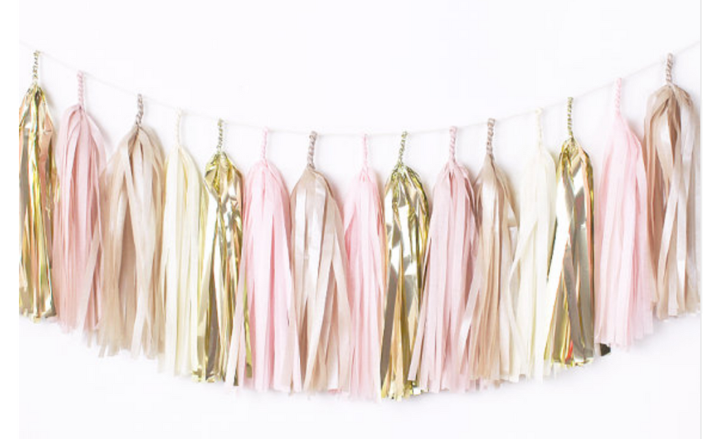 Table Tassel Garland - Gold, Champagne, Ivory and Rose Pink