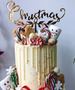 Christmas Vines Cake Topper Mirror Gold Acrylic
