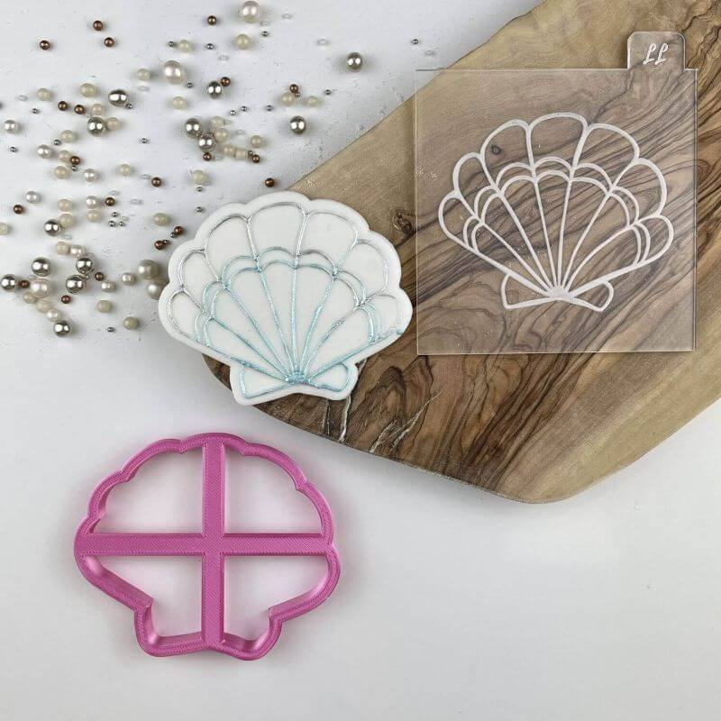 Shell Scallop Under The Sea Cookie Cutter and Embosser