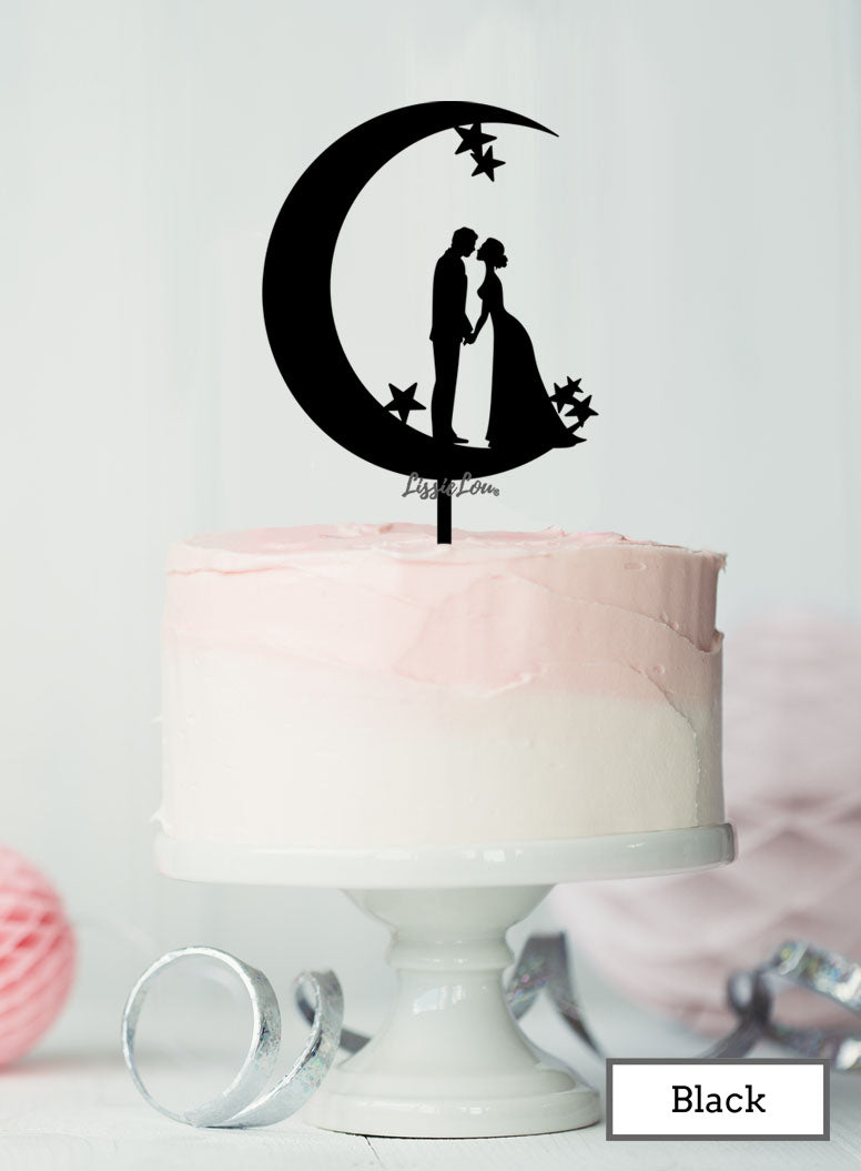 Moon And Star Silhouette Couple Wedding Acrylic Cake Topper