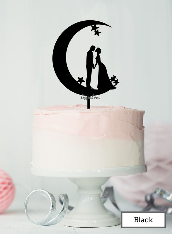 Moon and Star Silhouette Couple Wedding Cake Topper Premium 3mm Acrylic Black
