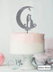 Moon and Star Silhouette Couple Wedding Cake Topper Premium 3mm Acrylic Glitter Silver