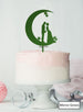 Moon and Star Silhouette Couple Wedding Cake Topper Premium 3mm Acrylic Mirror Green