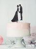 Silhouette Couple Wedding Cake Topper Premium 3mm Acrylic Glitter Black