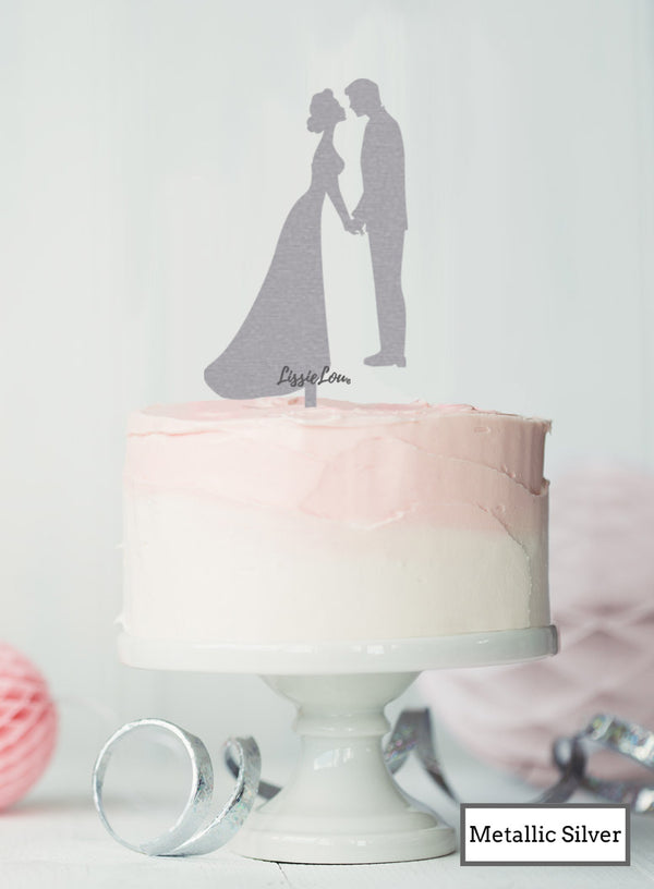 Silhouette Couple Wedding Cake Topper Premium 3mm Acrylic Metallic Silver