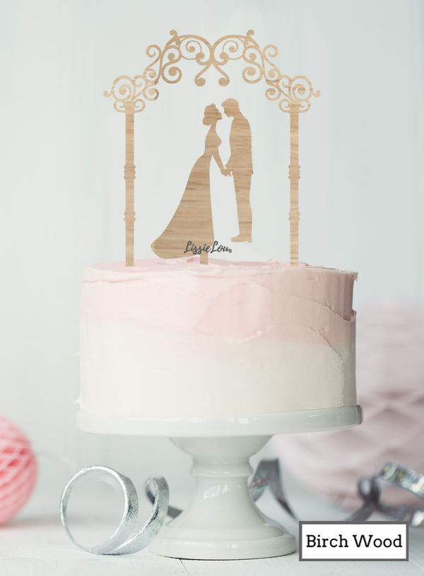 Silhouette Couple Under Pretty Arch Wedding Cake Topper Premium 3mm Birch Wood