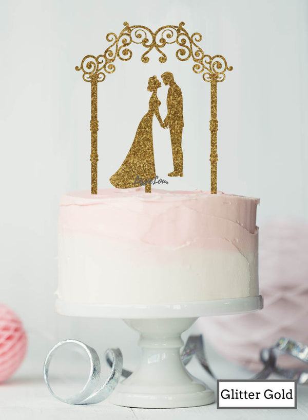 Silhouette Couple Under Pretty Arch Wedding Cake Topper Premium 3mm Acrylic Glitter Gold