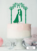 Silhouette Couple Under Pretty Arch Wedding Cake Topper Premium 3mm Acrylic Green
