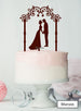 Silhouette Couple Under Pretty Arch Wedding Cake Topper Premium 3mm Acrylic Maroon