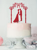 Silhouette Couple Under Pretty Arch Wedding Cake Topper Premium 3mm Acrylic Mirror Red
