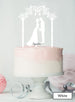 Silhouette Couple Under Pretty Arch Wedding Cake Topper Premium 3mm Acrylic White