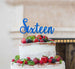 Sixteen Cake Topper Glitter Card Glitter Dark Blue