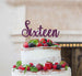 Sixteen Cake Topper Glitter Card Glitter Dark Purple