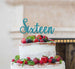 Sixteen Cake Topper Glitter Card Glitter Light Blue