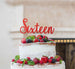 Sixteen Cake Topper Glitter Card Glitter Red