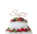 Sixty Birthday Cake Topper 60th Glitter Card White