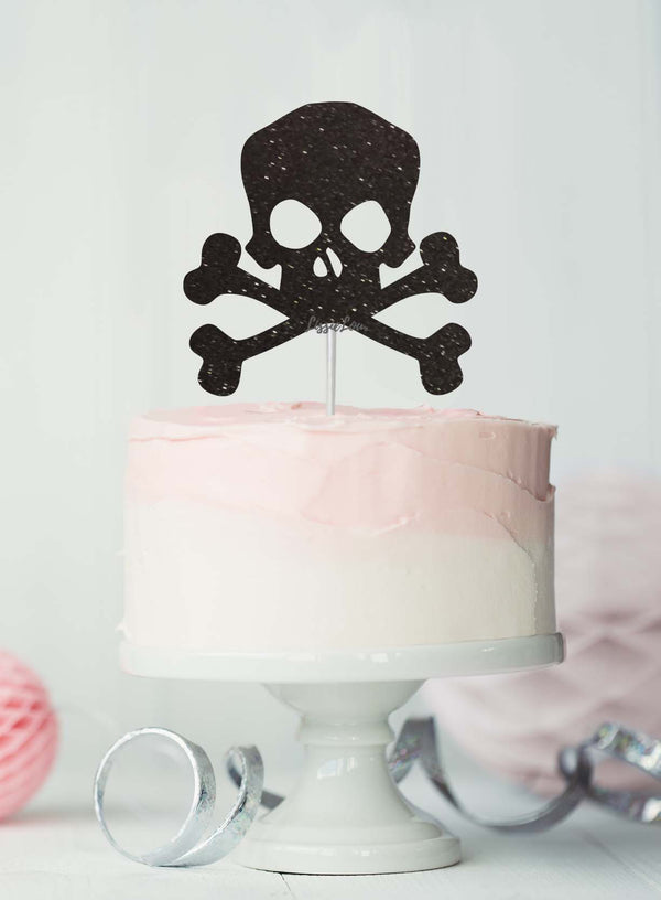 Pirate Skull and Bones Birthday Cake Topper Glitter Card Black