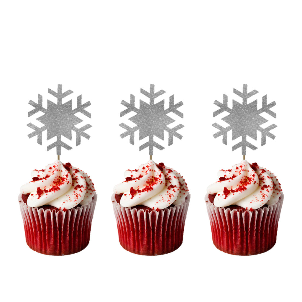 Snowflake Glitter Silver Christmas Cupcake Toppers