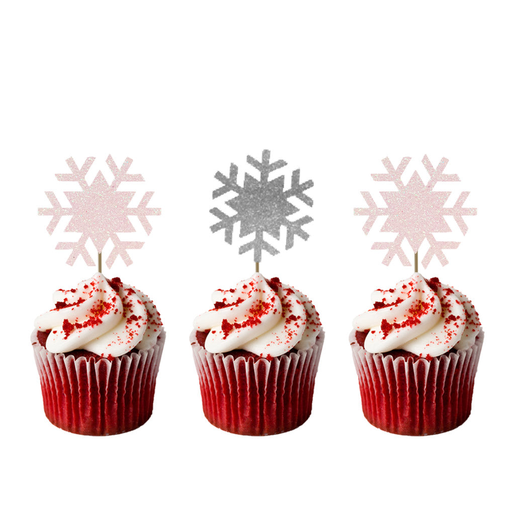 Christmas Cupcake Toppers.Christmas Snowflake Cupcake Toppers Glittery White Pack Of 8