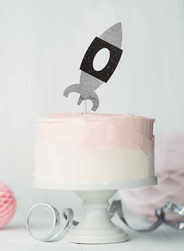 Spaceship Birthday Cake Topper Glitter Card Silver and Black