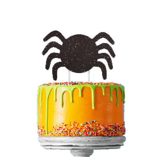Spider Glitter Cake Topper Black