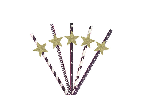 Star Party Straws - Glittery Gold with Black Straws