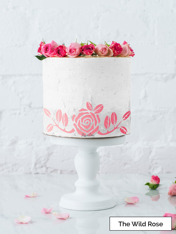 The Wild Rose Cake Stencil - Border Design