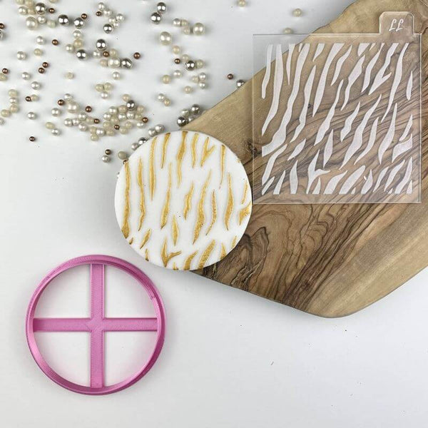 Tiger Animal Print Texture Tile Jungle Cookie Cutter and Embosser