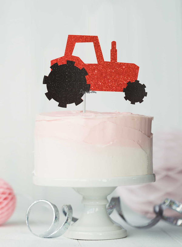 Tractor Cake Topper Glitter Card Red