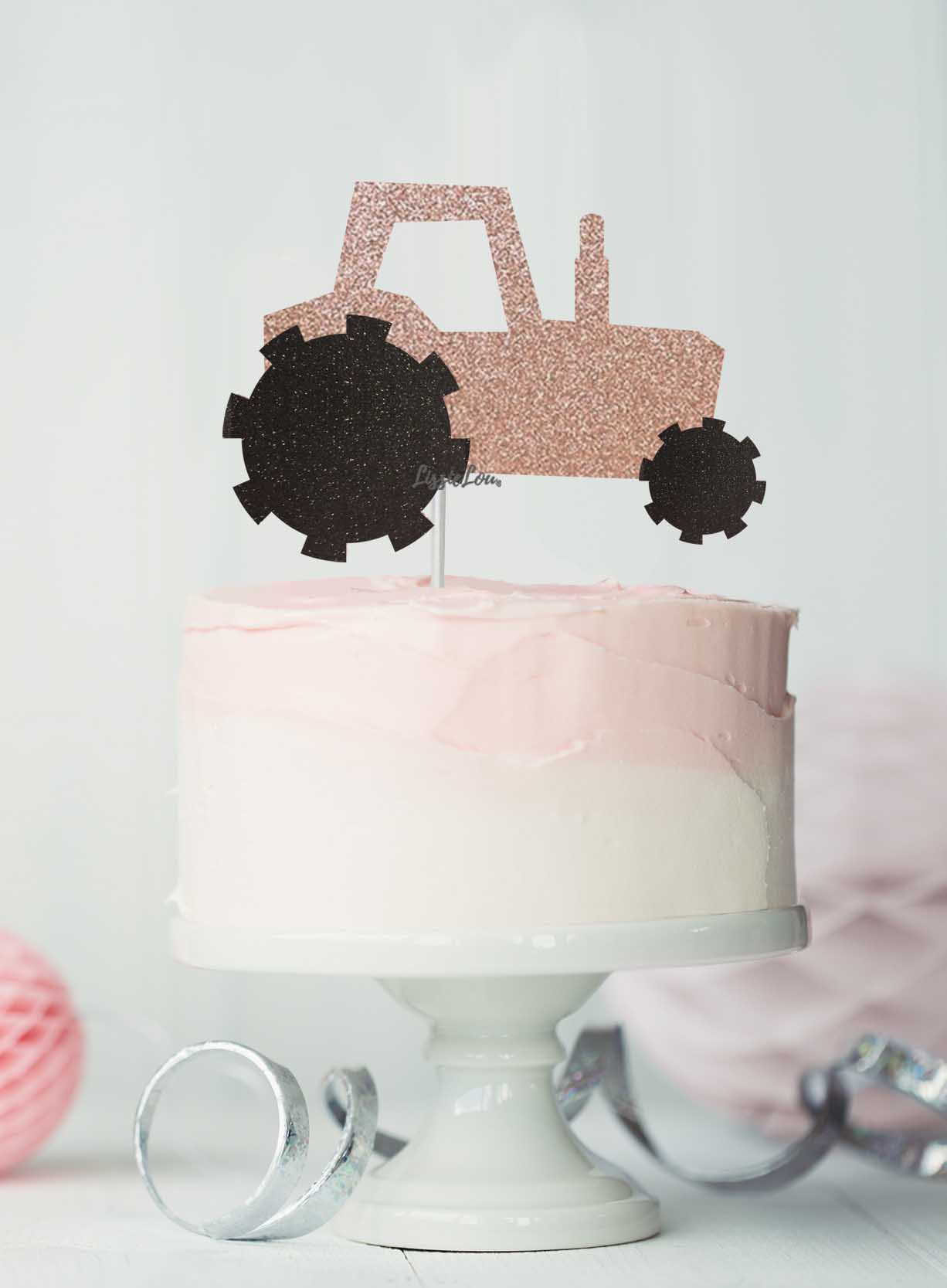 Tractor Cake Topper Glitter Card Rose Gold