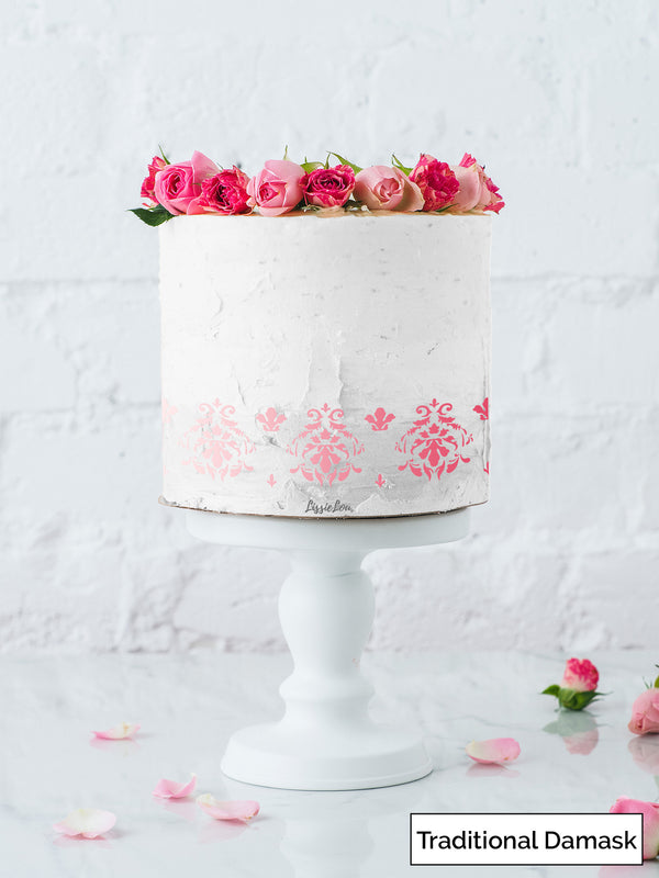 Traditional Damask Cake Stencil - Border Design