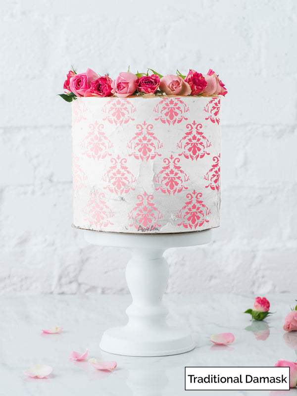 Traditional Damask Cake Stencil - Full Size Design