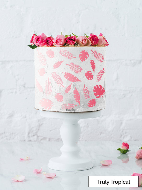 Truly Tropical Cake Stencil - Full Size Design