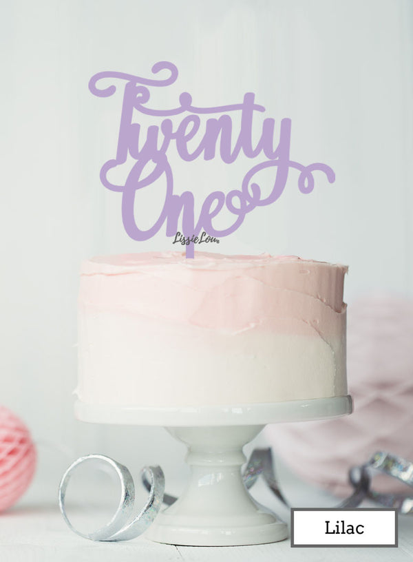 Twenty First Swirly Font 21st Birthday Cake Topper Premium 3mm Acrylic Lilac