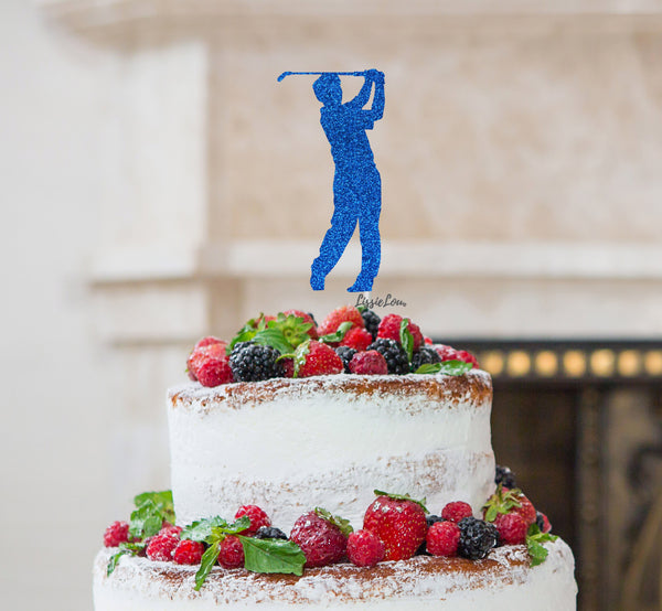 Golfer Male Cake Topper Glitter Card Dark Blue