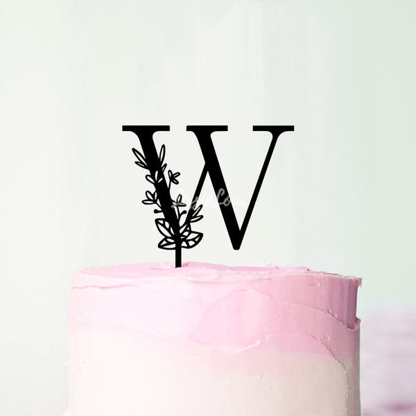 Wedding Floral Initial Letter W Style Cake Topper