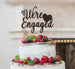 We're Engaged with Heart Cake Topper Glitter Card Black