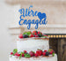 We're Engaged with Heart Cake Topper Glitter Card Dark Blue